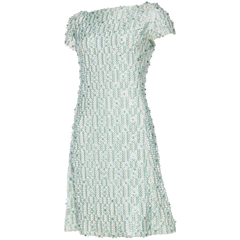 1960s Fully beaded Lace and Ribbon Dress