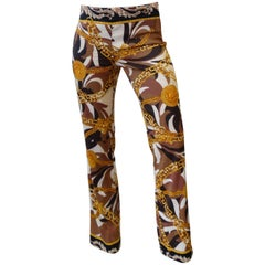 1980s Gianni Versace Lion & Medusa Head Printed Trouser Pants