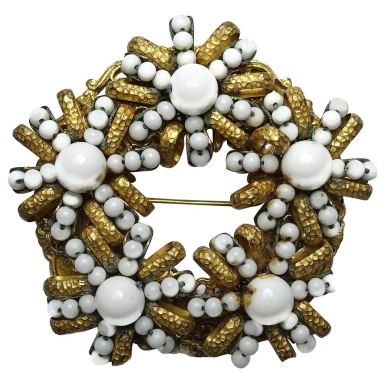 Vintage 1950s Signed Miriam Haskell White Bead Brooch For Sale