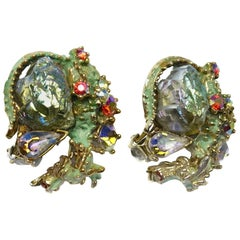 Har Vintage Dragon Clip Earrings, 1950s
