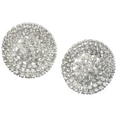 Round Rhinestone Clip Large Statement Earrings, 1970s