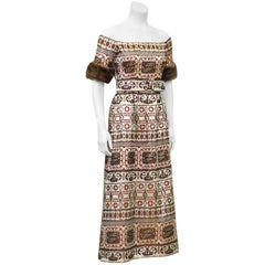 1970's Oscar de la Renta Brocade Gown with Mink Trim