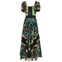 1970s Valditevere Firenze Black Multi Color Print Cotton Dress