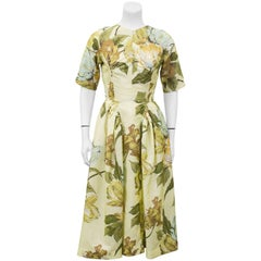 1950s Schiaparelli 'Maribeau' Yellow Floral Printed Fabric Custom Made Dress