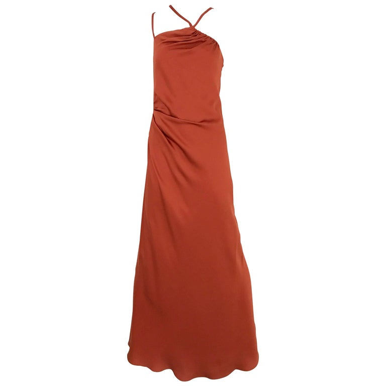 1990s BILL BLASS Burnt Orange Silk Charmeuse Asymetrical Neckline Dress