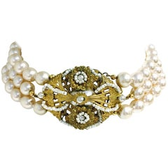 MIRIAM HASKELL Vintage Multi Strand Faux Pearl Choker Necklace