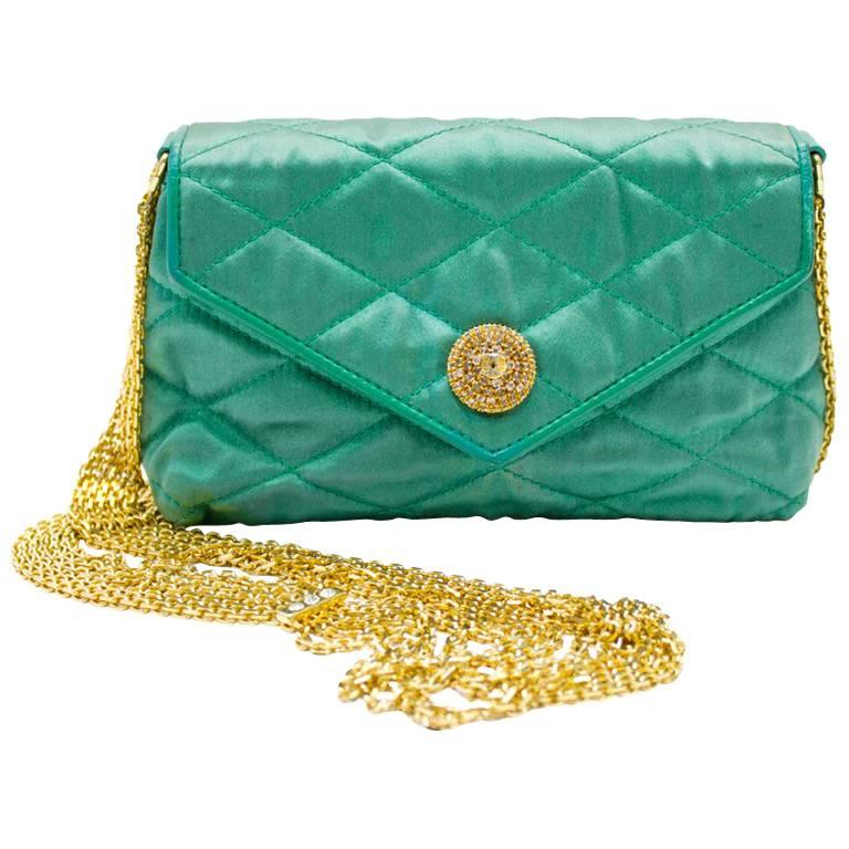 1980s Chanel Emerald Green Silk Bag with Gold Chain