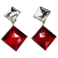 Vintage Signed Ben Amun Red & Clear Crystal Drop Earrings
