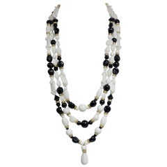 Vintage Miriam Haskell 3 Rows Of White & Black Beaded Necklace