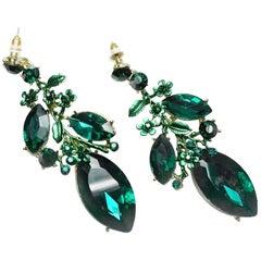 Emerald Green Crystal Dangle Pierced Earrings