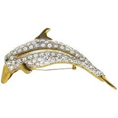 Crystal Dolphin Fish 4 Inch Statement Shoulder Brooch