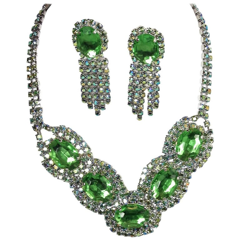 Vintage One of Kind Green Czech Glass Necklace and Earrings For Sale