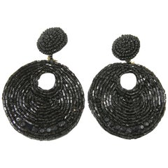 Kenneth Jay Lane Long Black Beaded Hoop Earrings