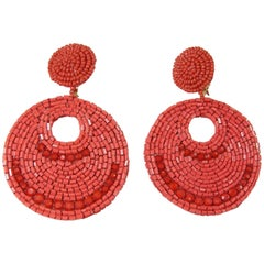 Kenneth Jay Lane Long Red Coral Beaded Clip Drop Earrings