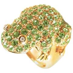 Kenneth Jay Lane Green Rhinestone Frog Ring