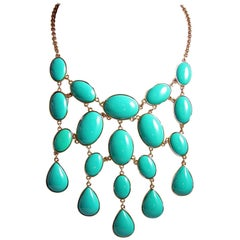 Kenneth Jay Lane Faux Turquoise Bib Necklace