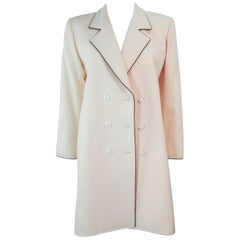 YVES SAINT LAURENT Ivory Cream Tuxedo Style Dress Coat Size Medium
