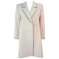 YVES SAINT LAURENT Ivory Cream Tuxedo Style Dress Coat Size Medium
