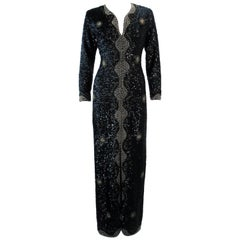 Vintage 1960's Black and Gold Sequin Maxi Dress Size M L