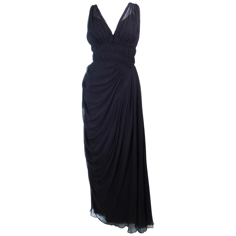 HELEN ROSE Black Silk Chiffon Draped Gown with Empire Waist Size 2 4