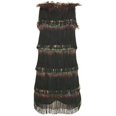 Alessandro dell'acqua Peacock Feather Fringe Tassel  Cocktail Mini Dress
