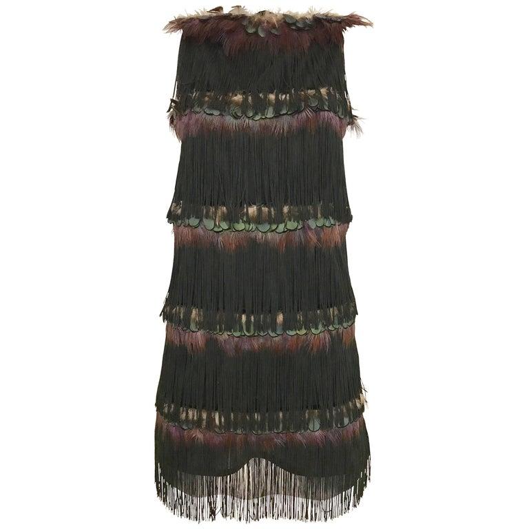 Alessandro dell'acqua Peacock Feather Fringe Tassel  Cocktail Mini Dress