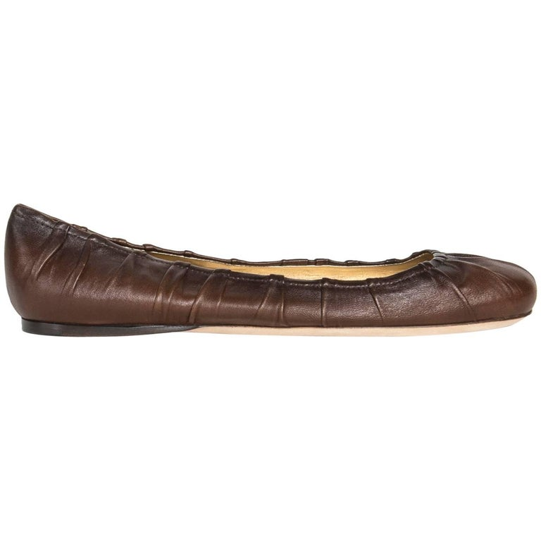 Prada Brown Leather Ballet Shoes