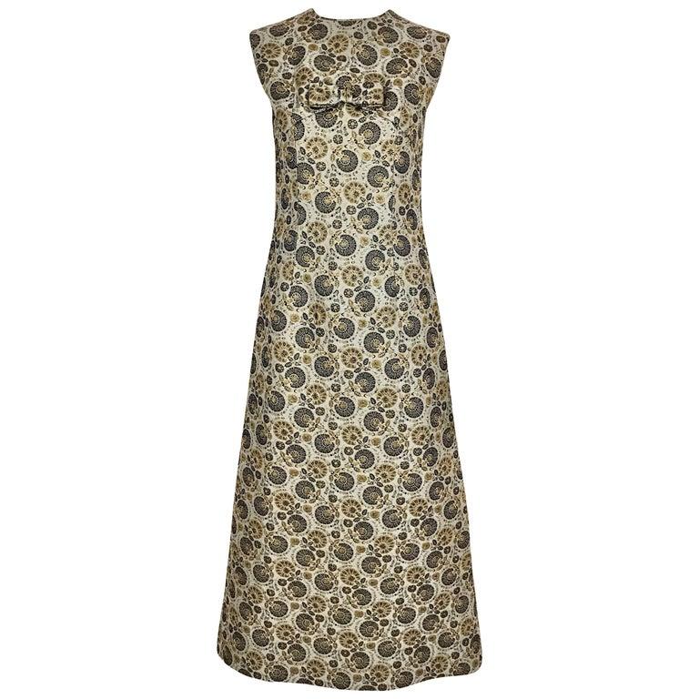 1960s Metallic Grey and Blue Brocade Sleeveless Dress