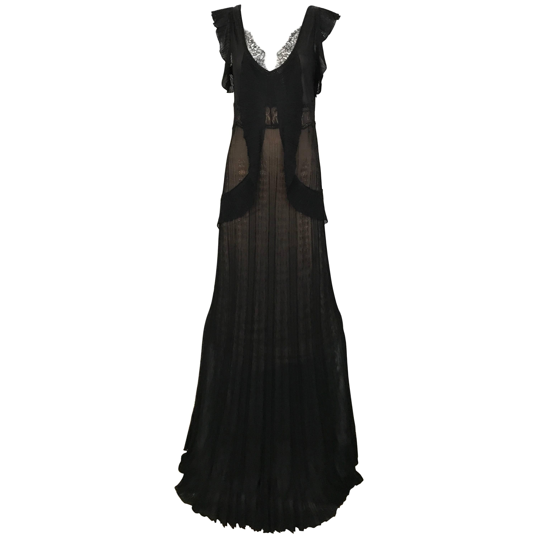 1990s Christian Lacroix Black Knit Maxi Dress