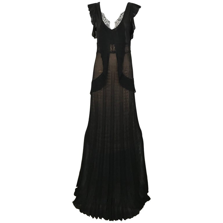 1990s Christian Lacroix Black Knit Maxi Dress