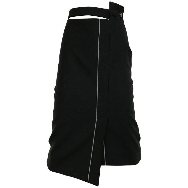 Vintage Viviene Westwood Black Wook with Grey Pin striped asymmetrical Skirt