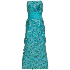1960s Turquoise Blue Strapless Gown with Silver Floral Embroidery