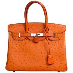 Birkin Hermés Tangerine Ostrich Bag