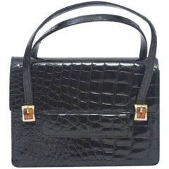 1960s Black Alligator Handbag