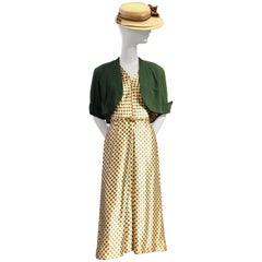 1940s Green Polka-Dot Silk Satin Dress, Green Wool Bolero and Hat Ensemble