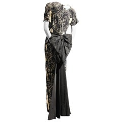 1940s Eisenberg Original Black and White Floral Print Gown w Huge Taffeta Bow
