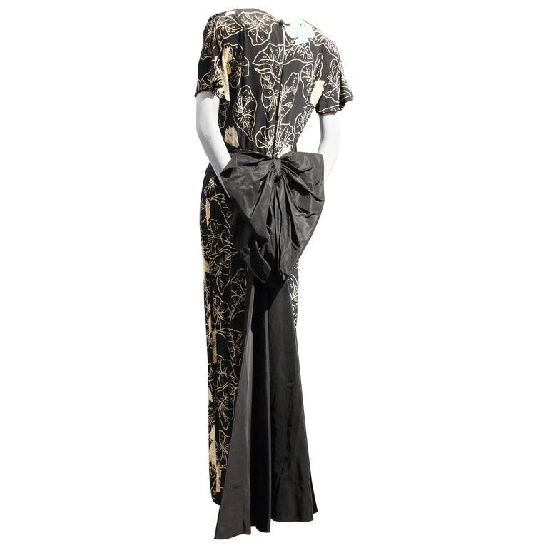 1940s Eisenberg Original Black and White Floral Print Gown w Huge Taffeta Bow