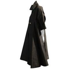 1952 Christian Dior Spring/Summer Couture Black Dupioni Silk Opera Swing Coat