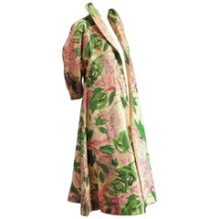 1950s Irene Silk Opera Coat in a Full Swing Style w Glorious Lilac Print