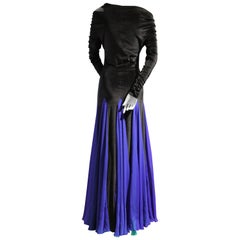 1980s Giorgio di Sant Angelo Black Velvet Gown w Cobalt and Green Gored Skirt