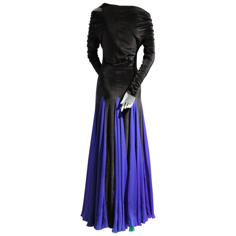 1980s Giorgio di Sant Angelo Black Velvet Gown w Cobalt and Green Gored Skirt