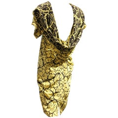 1980s Gianni Versace Yellow and Black Floral Print Silk Dress w Draped Back