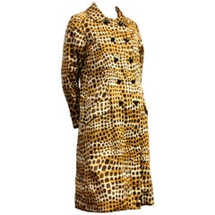 1960s Jean Louis Leopard Print Silk Satin Double Breasted A-Line Raincoat