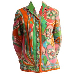 1960s Emilio Pucci Cotton Velveteen Jacket in Delicious Sorbet Palette