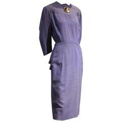 Late 1940s Eisenberg Indigo Blue Tailored Dress w Large Button Detailing