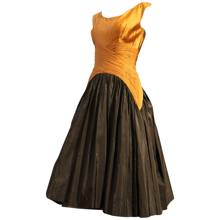 1950s Samuel Winston Black and Gold Cocktail Dress w Exquisite Bodice Detailing For Sale