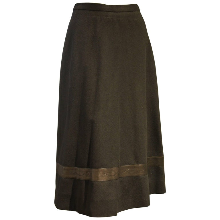 1970s Hermes Cashmere Woven Flared Skirt w Western-Inspired Leather Inset
