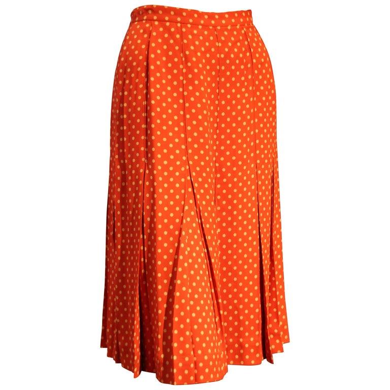 1970s Saint Laurent Box Pleated Orange and White Polka Dot Crepe Skirt