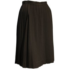 1990s Saint Laurent Black Rayon Crepe Pleated Knee-Length Skirt