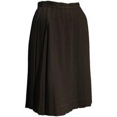 1990s Saint Laurent Black Rayon Crepe Pleated Knee-Length Skirt